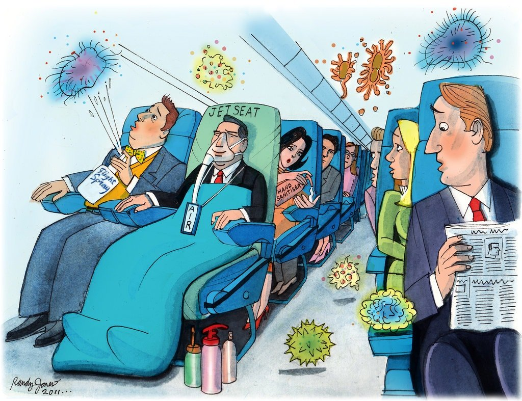 signature bacteria airplane virus germs travel